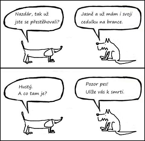 cedule pozor pes